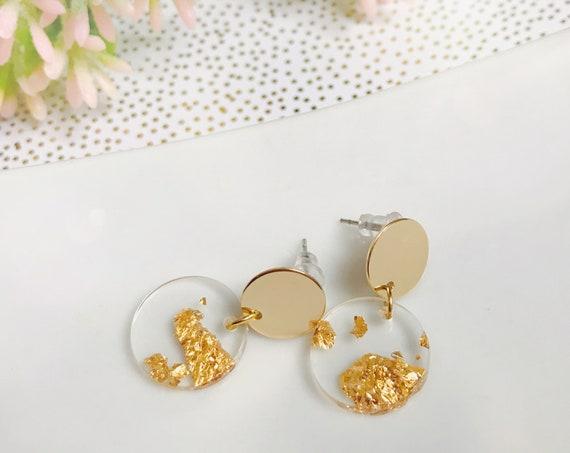 Dangle earrings, Dainty earrings, Minimalist earrings, Gold earrings, Dainty jewelry, Geometric earrings, Minimalist jewlery, Simple Earring