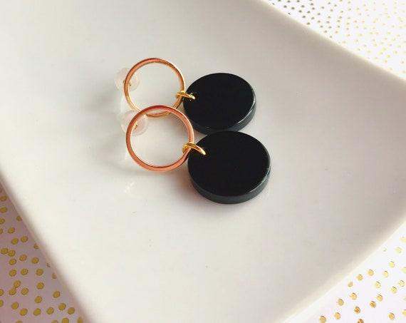 Dangle earrings, Delicate earrings, Modern earrings, Black earrings, Geometric earrings, Minimalist earrings, Delicate earrings