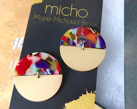 Dangle earrings, Modern earrings, Drop earrings, Geometric earrings, Modern jewelry, Tortoise shell earrings, Colorful earrings