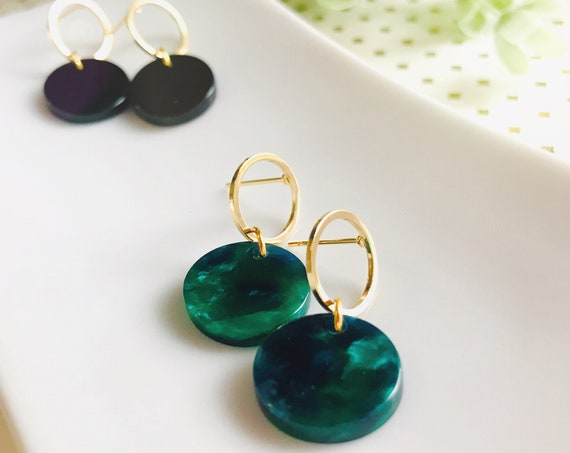 Dangle earrings, Delicate earrings, Modern earrings, Black earrings, Green earrings, Geometric earrings, Minimalist earrings, Simple Earring