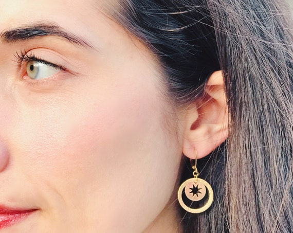 Dangle earrings, Trendy earrings, Modern earrings, Golden jewelry, Romantic earrings, Star earrings, Earrings with star, Modern earrings