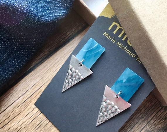 Dangle earrings, Blue earrings, Triangle earrings, Silver and blue earrings, Triangle jewellery, Triangle jewelry Silver and blue