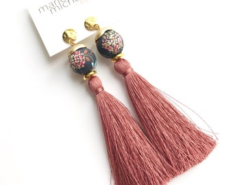 Tassel earrings, Long earrings, Silk earrings, Luxurious earrings, Boho chic, Statement earrings, Boho chic earrings, Statement jewelry