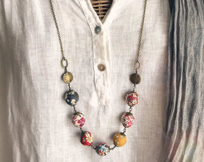 Liberty necklace, Boho necklace, Multicolor necklace, Textile beads, Textile jewelry, Mix prints necklace, Boho jewelry, Colorful necklace