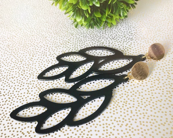 Statement earrings, Trendy earrings, Modern earrings, Black earrings, Geometric earrings,  Modern jewelry, Long earrings, Statement jewelry