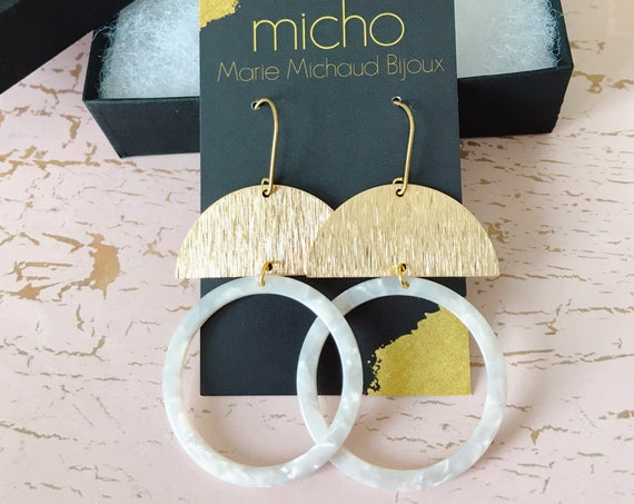Dangle earrings, Geometric earrings, Modern earrings, Big earrings, White earrings, Tortoise shell earrings, Bridal Earrings, Modern bride