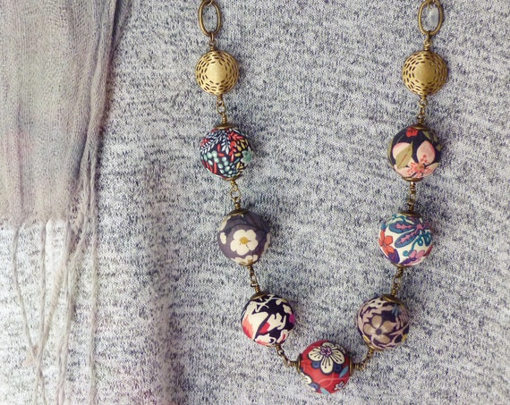 Liberty necklace, Boho necklace, Multicolor necklace, Textile beads, Textile jewelry, Mix prints necklace, Boho chic jewelry, Liberty prints