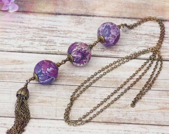 Liberty necklace, Tassel necklace, Long boho necklace, Liberty jewelry, Fall jewelry, Liberty necklace, Free shipping, Purple necklace