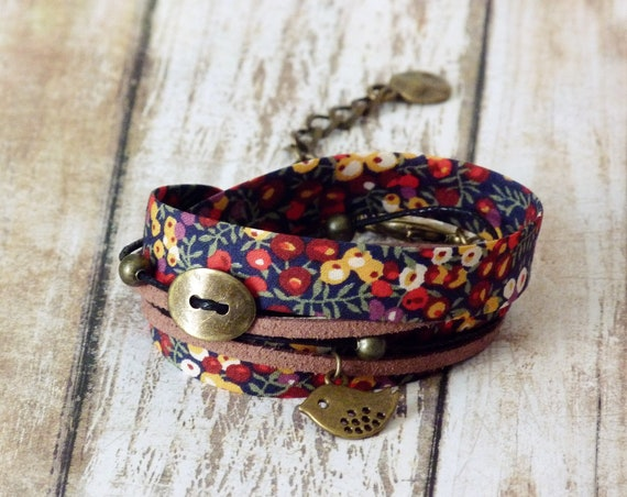 Liberty bracelet, Wrap bracelet, Double wrap bracelet, Cuff bracelet, Liberty jewelry, Colorful bracelet, Boho bracelet, Vegan jewelry