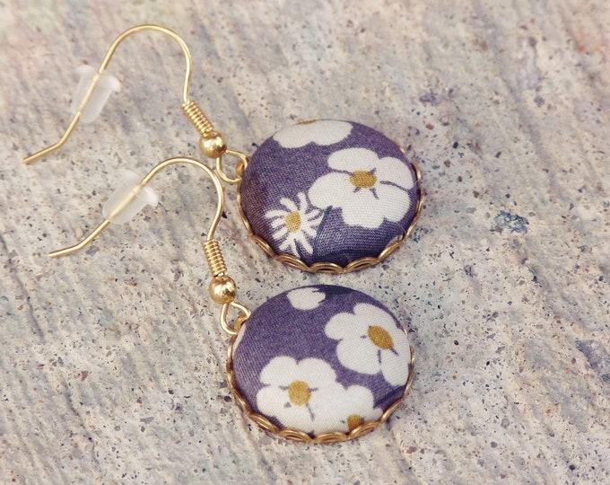 Liberty earrings, Grey earrings, Fall earrings, Flower earrings, Liberty jewelry, Fall trends, Gift under 30, Gray earrings, Boho earrings