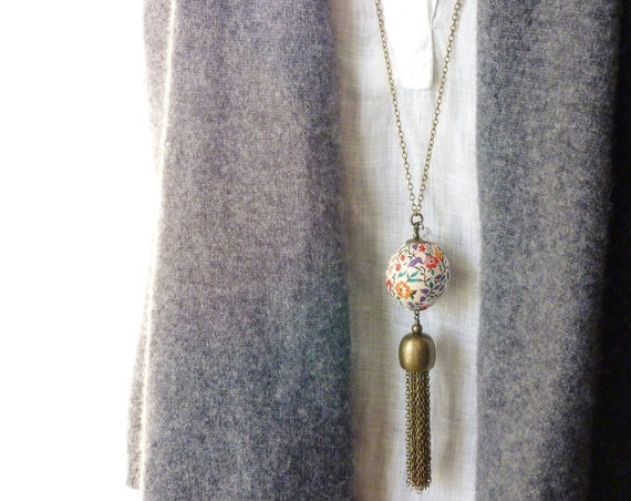 Liberty necklace, Tassel necklace, Boho necklace, Boho chic jewelry, Pendant necklace, Big tassel necklace, Long necklace, Liberty jewelry,