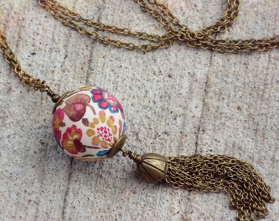 Liberty necklace, Tassel necklace, Boho necklace, Boho chic, Pendant necklace, Boho jewelry, Fall colors necklace, Liberty jewelry,