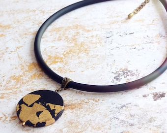 Hand painted necklace, Statement necklace, Black and gold necklace, Jewelry art, Short statement necklace, Black and gold jewelry, Boho chic