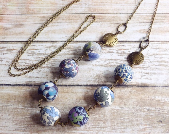 Liberty necklace, Boho necklace, Blue necklace, Textile beads, Textile jewelry, Blue jewelry, Boho chic jewelry, Liberty prints, Blue