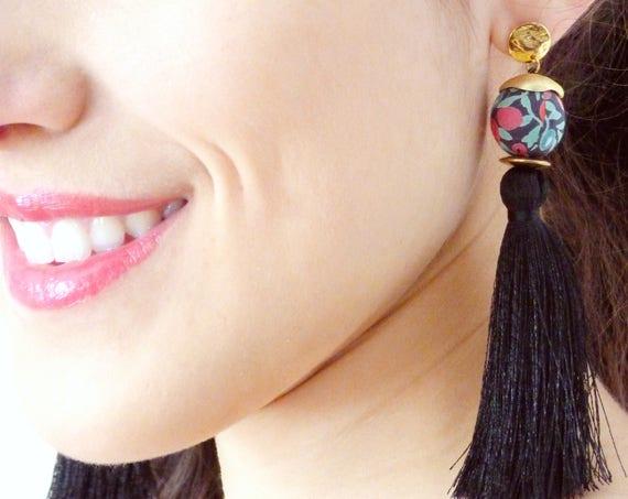 Tassel earrings,Black earrings,Long earrings,Silk tassel earrings,Luxurious earrings,Statement earrings,2018 jewelry,Boho chic earrings