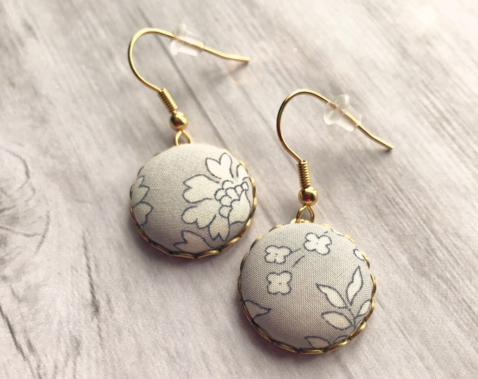 Liberty earrings, Grey earrings, Romantic earrings, Flower earrings, Liberty jewelry, Gray earrings, Pastel earrings, Earrings for bride