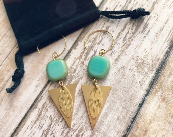 Dangle earrings, Trendy earrings, Modern earrings, Golden jewelry, Boho chic earrings, Brass earrings, Modern jewelry, Triangle earrings