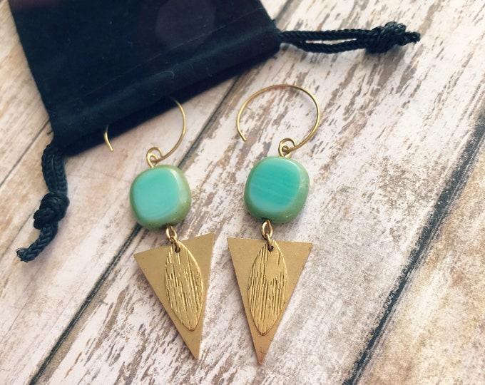 Dangle earrings, Trendy earrings, Modern earrings, Golden jewelry, Boho chic earrings, Brass earrings, Modern jewelry, Triangle earrings