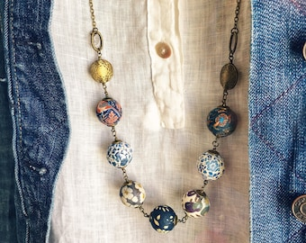 Liberty necklace, Boho necklace, Blue necklace, Textile beads, Textile jewelry, Mix prints necklace, Boho jewelry, Colorful necklace