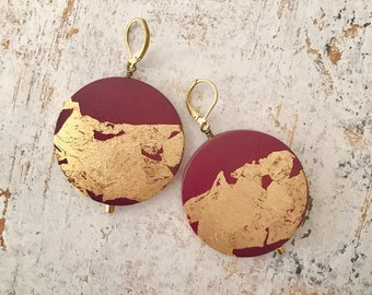 Statement earrings, Painted earrings, Hand painted earrings, Red and gold earrings, Art jewelry, Boho earrings, Light earrings, Boho