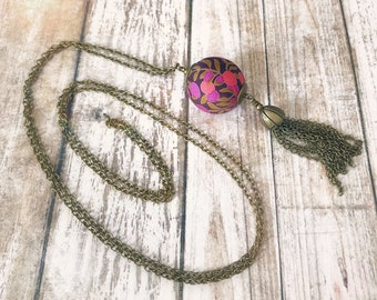 Liberty necklace, Tassel necklace, Boho necklace, Colorful necklace, Pendant necklace, Boho jewelry, Pink necklace, Liberty jewelry,