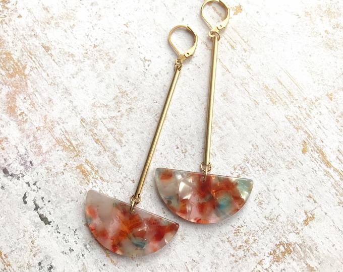 Dangle earrings, Trendy earrings, Modern earrings, Drop earrings, Long earrings, Tortoise shell earrings, Geometric earrings