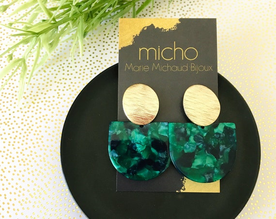 Dangle earrings, Statement earrings, Modern earrings, Green earrings, Tortoise shell earrings, Geometric earrings, Green and gold, Green
