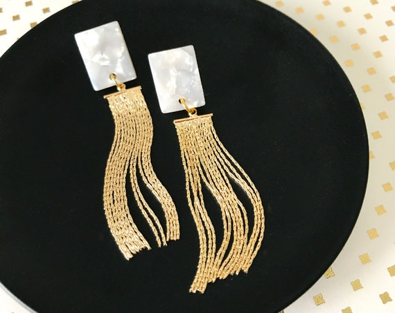 Dangle earrings, Tassel earrings, Modern earrings, Fringe earrings, Modern jewelry, Bridal earrings earrings, Wedding earrings, Geometric