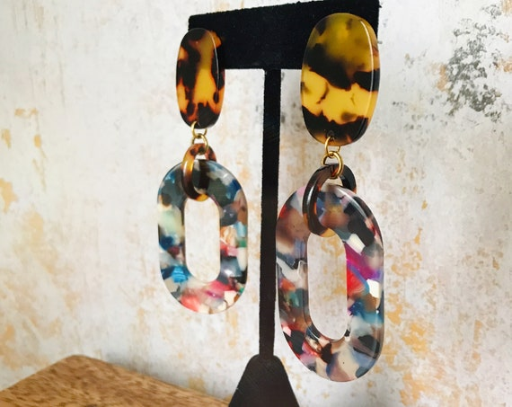 Dangle earrings, Statement earrings, Modern earrings, Big earrings, Modern jewelry, Tortoise shell earrings, Multicolor earrings, Colorful