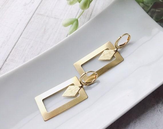 Dangle earrings, Rectangle earrings, Geometric earrings, Drop earrings, Square earrings, Geometric jewelry, Golden earrings, Modern earrings