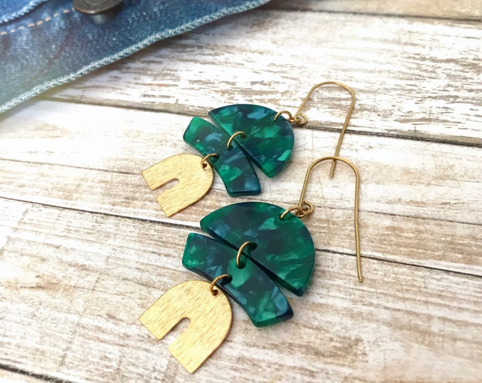 Dangle earrings, Modern earrings, Drop earrings, Geometric earrings, Modern jewelry, Tortoise shell earrings, Trendy earrings, Free shipping
