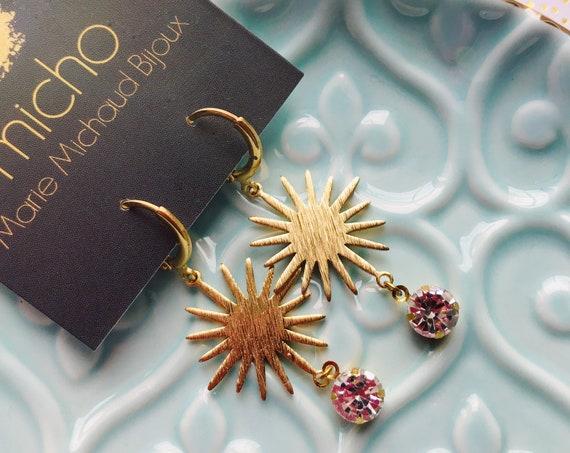 Dangle earrings, Star earrings, Bridal earrings, Bridal jewelry, Sun earrings, Golden star earrings, Golden sun earrings, Wedding earrings