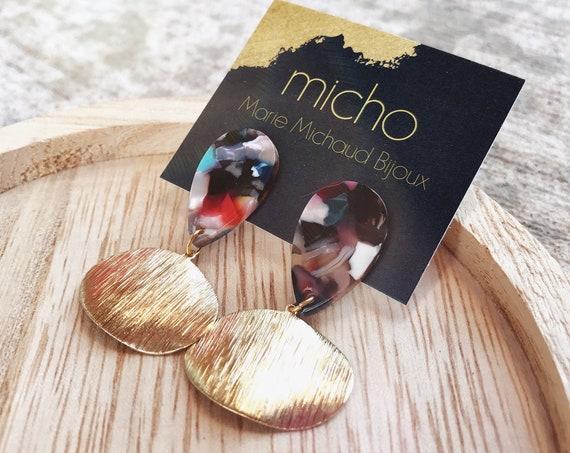 Dangle earrings, Modern earrings, Drop earrings, Geometric earrings, Modern jewelry, Tortoise shell earrings, Trendy earrings, Free shipping