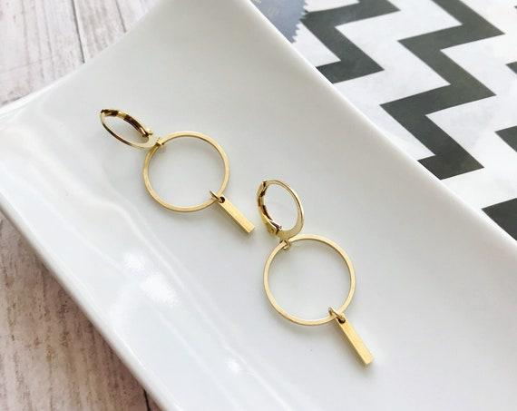 Dangle earrings, Minimalist jewelry, Minimalist earrings, Dainty jewelry, Dainty earrings, Brass earrings, Modern jewelry, Holiday gifts