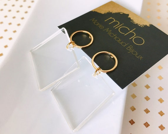 Dangle earrings, Transparent earrings, Modern earrings, Trendy earrings, Geometric earrings, Clear earrings, Square earrings