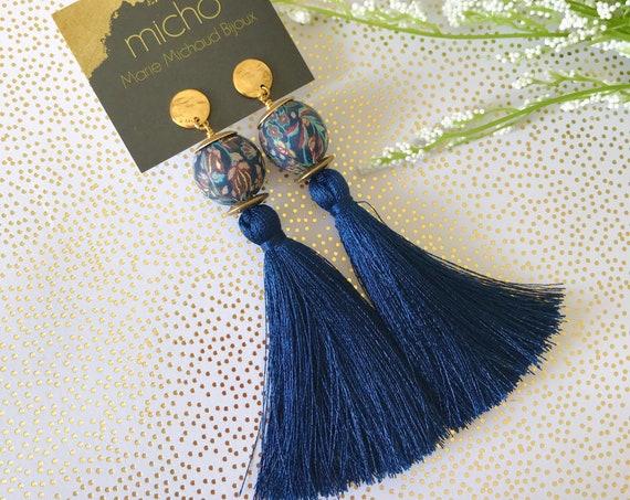 Tassel earrings, Long earrings, Silk tassel earrings, Luxurious earrings, Statement earrings, Boho chic earrings, Blue earrings,