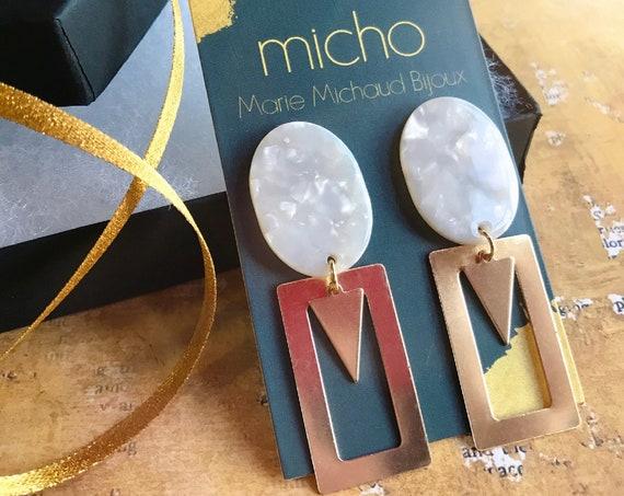 Dangle earrings, Modern earrings, Drop earrings, Geometric earrings, Modern jewelry, Tortoise shell earrings, Square earrings, Free shipping