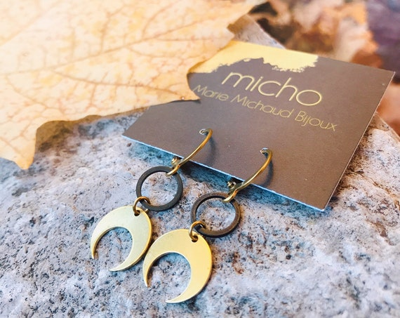 Dangle earrings, Moon earrings, Zen earrings, Moon jewelry, Geometric earrings, Geometric earrings, Delicate earrings, Trendy earrings, Zen