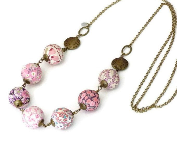 Liberty necklace, Boho necklace, Multicolor necklace, Textile beads, Textile jewelry, Mix prints necklace, Boho chic jewelry, Pink necklace