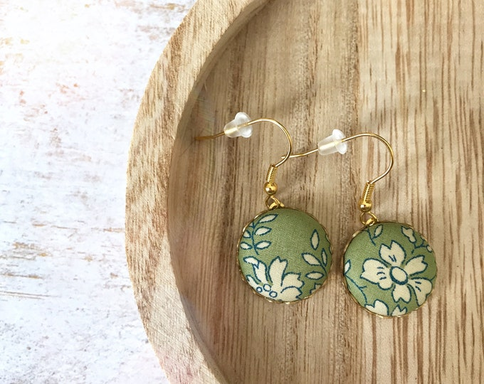 Liberty earrings, Colorful earrings, Romantic earrings, Flower earrings, Liberty jewelry, Green earrings, Pastel earrings, Boho chic