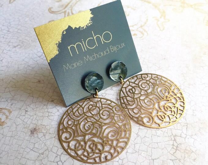 Dangle earrings, Boho earrings, Drop earrings, Boho jewelry, Bridal earrings, Tortoise shell earrings, Light earrings, Free shipping