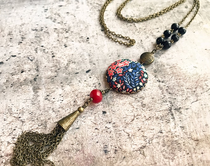 Liberty necklace, Tassel necklace, Long boho necklace, Liberty jewelry, Long tassel necklace, Free shipping Canada, Colorful necklace