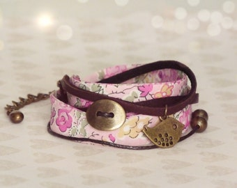 Liberty bracelet, Wrap bracelet, Double wrap bracelet, Free shipping, Cuff bracelet, Liberty jewelry, Colorful bracelet, Pink bracelet