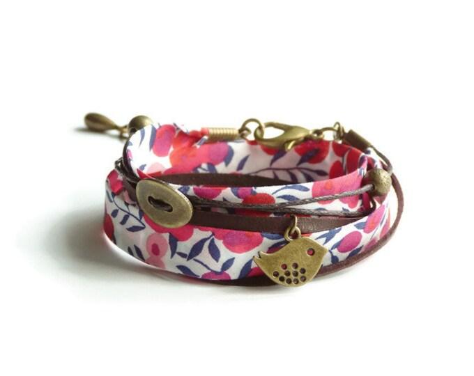 Liberty bracelet,Wrap bracelet,Double wrap bracelet,Cuff bracelet,Liberty jewelry,Red bracelet,Boho bracelet,Cadeau pour elle,