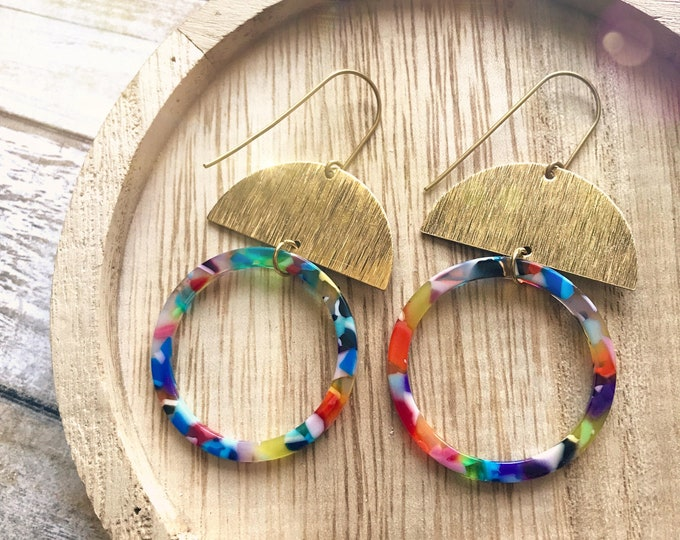 Dangle earrings, Geometric earrings, Modern earrings, Big earrings, Colorful earrings, Tortoise shell earrings, Multicolor earrings, Loop