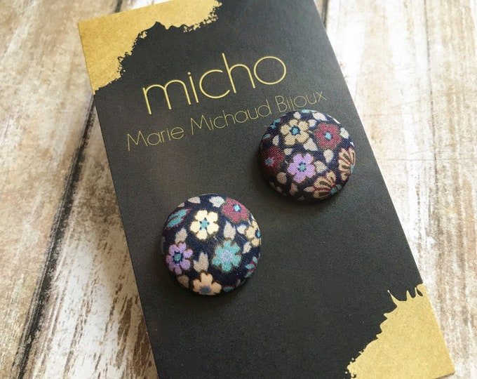 Liberty earrings, Cute earrings, Colorful earrings, Stud earrings, Flower earrings, Liberty jewelry, Fabric earrings, Studs, Free shipping