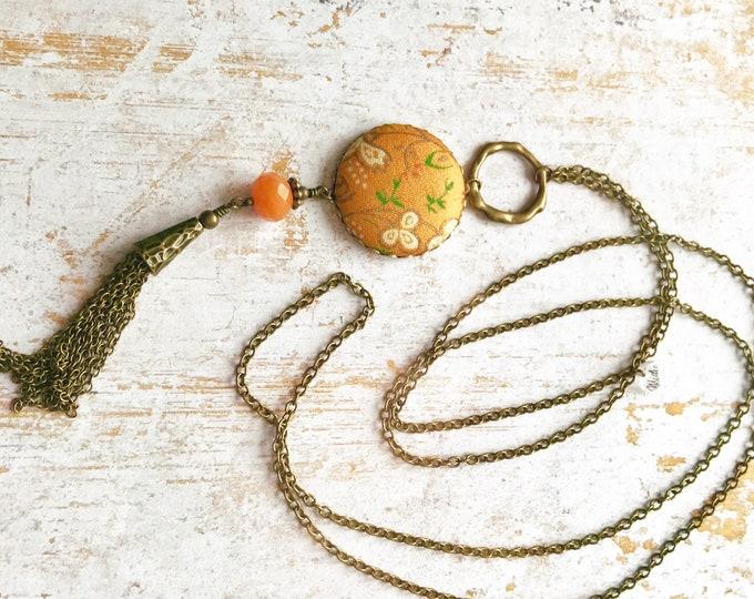 Silk necklace, Tassel necklace, Long boho necklace, Boho chic necklace, Yellow necklace, Free shipping Canada, Boho chic jewelry, Silk