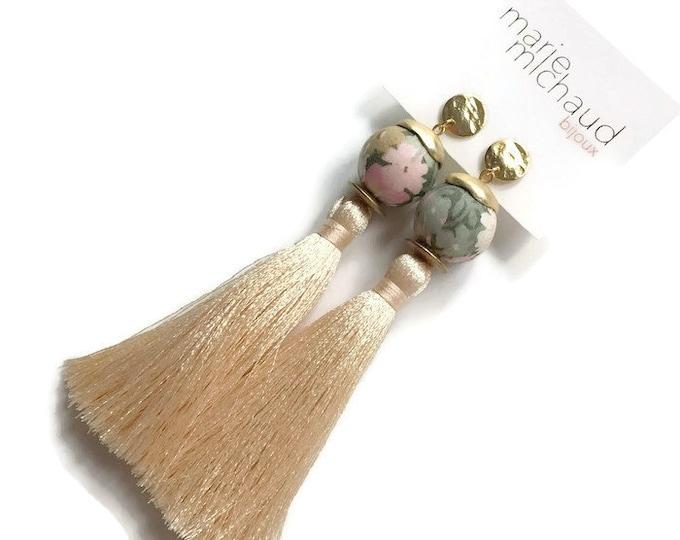 Tassel earrings, Long earrings, Silk tassel earrings, Luxurious earrings, Statement earrings, White earrings, Bride earrings, Bride jewelry