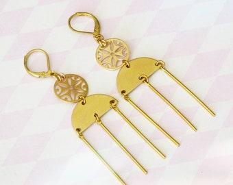 Dangle earrings, Trendy earrings, Boho earrings, Boho jewelry, Boho chic earrings, Golden earrings, Modern jewelry, Holiday gifts,