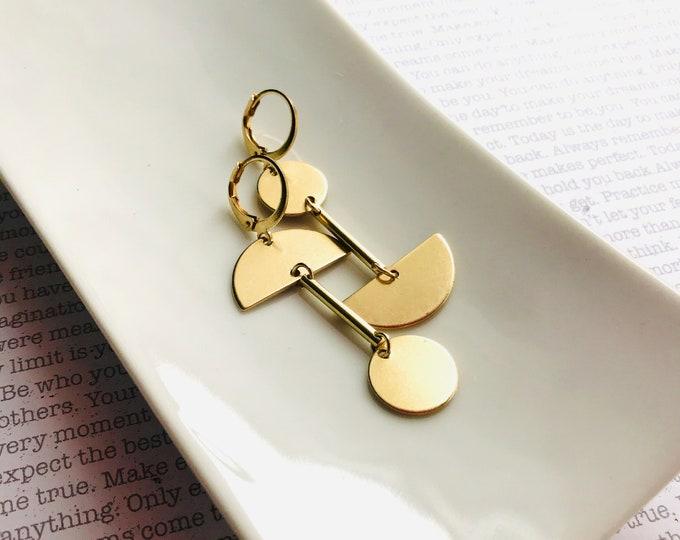 Dangle earrings, Trendy earrings, Asymmetric earrings, Golden jewelry, Boho chic earrings, Brass earrings, Modern jewelry, Holiday gifts